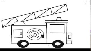 رسم الدفاع المدنى اطفال طريقة رسم سيارة اطفاء How To Draw A Fire