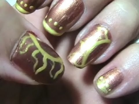 Bronze and Gold~Inca or Aztec nail design