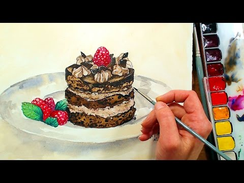 Let's Paint Yummy Chocolate Raspberry Cake in Watercolor!