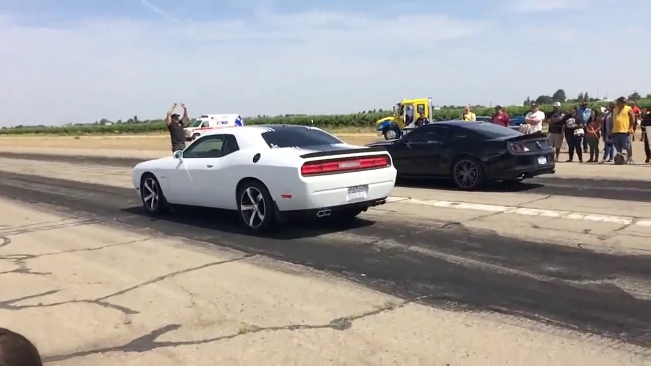 Dodge Challenger RT Shaker vs Mustang GT 5 0  YouTube