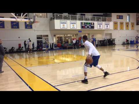 Stephen Curry morning shootaround routine, before Golden State Warriors (33-6) vs Detroit Pistons