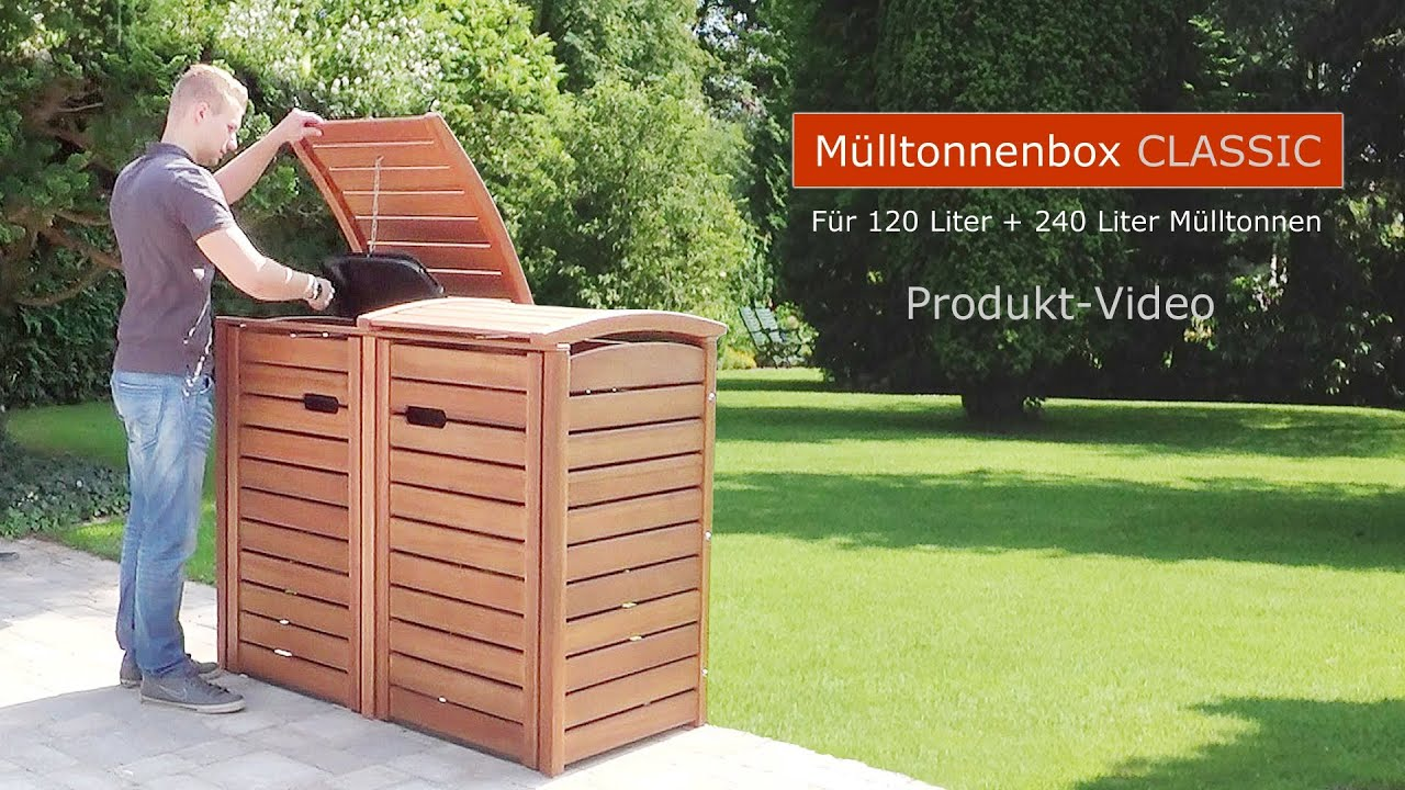 m lltonnenbox classic fsc eukalyptus holz edelstahl zubeh r youtube. Black Bedroom Furniture Sets. Home Design Ideas
