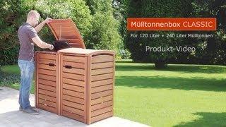 Mülltonnenbox CLASSIC - FSC Eukalyptus Holz - Edelstahl-Zubehör.