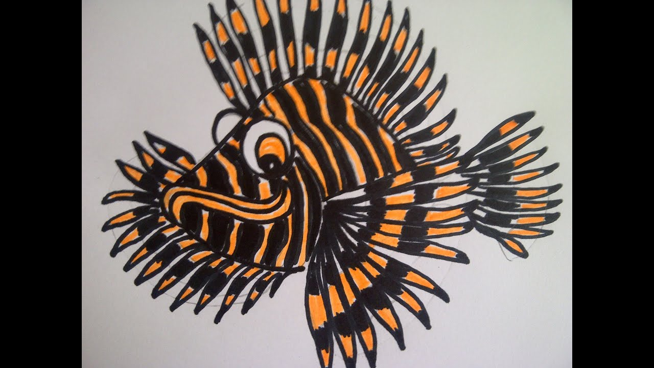 Fische malen. Japanischer Feuerfisch (Skorpionfisch) zeichnen ...