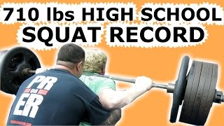 HIGH SCHOOL SQUAT RECORD 710 POUNDS STRENGTH MEET COMPETITION
