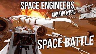 Fully Crewed Rebel Fleet VS Imperial Shipyard (Multiplayer Space BATTLE) - Space Engineers