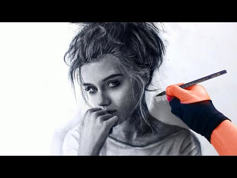 Gorgeous Young Girl in Charcoal Drawing 11-19 workshop Art Drawing Video