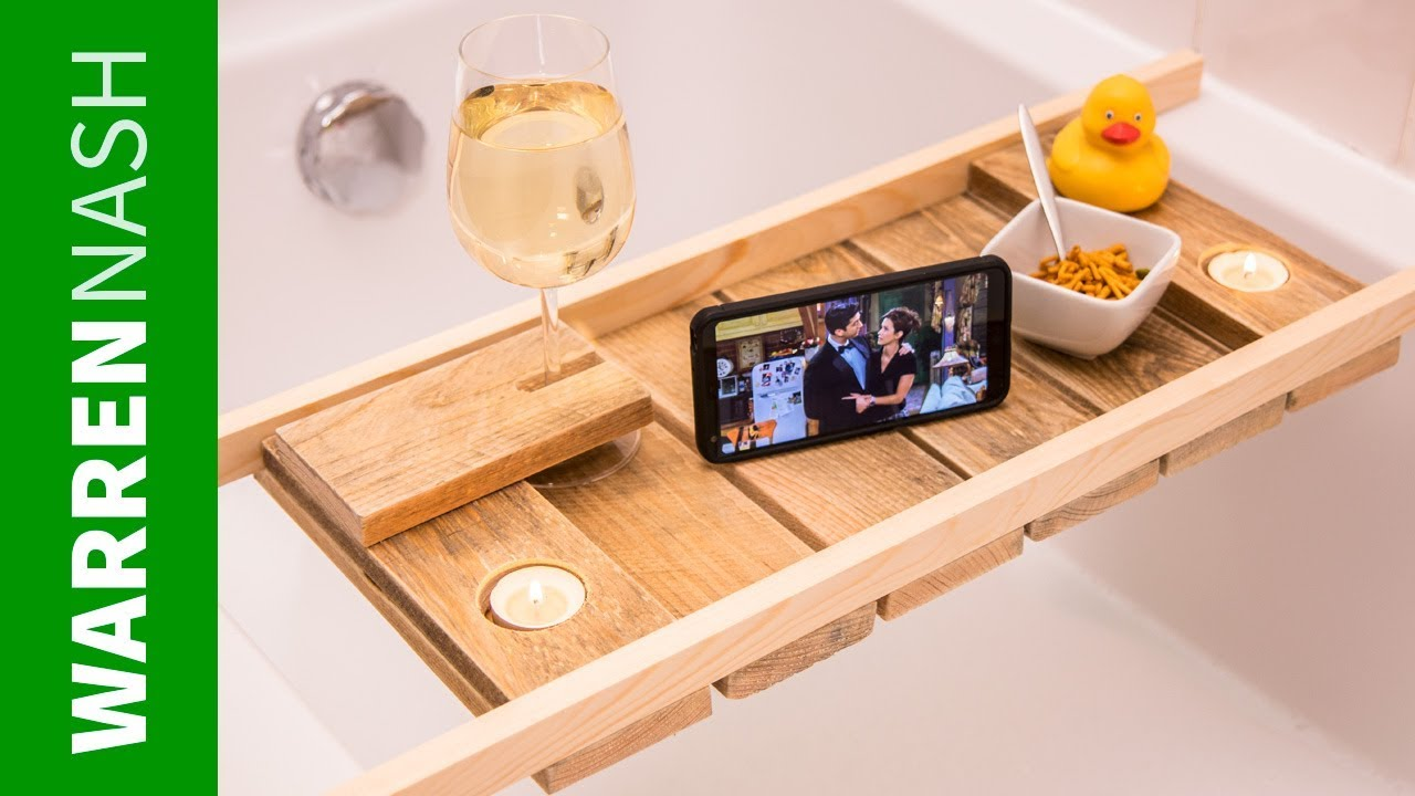 Make a Pallet Bath Caddy in a DAY - With Wine Glass Holder - Easy ...