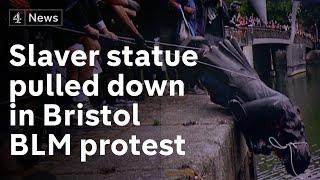 Statue of Bristol slaver Edward Colston torn down by Black Lives Matter demonstrators