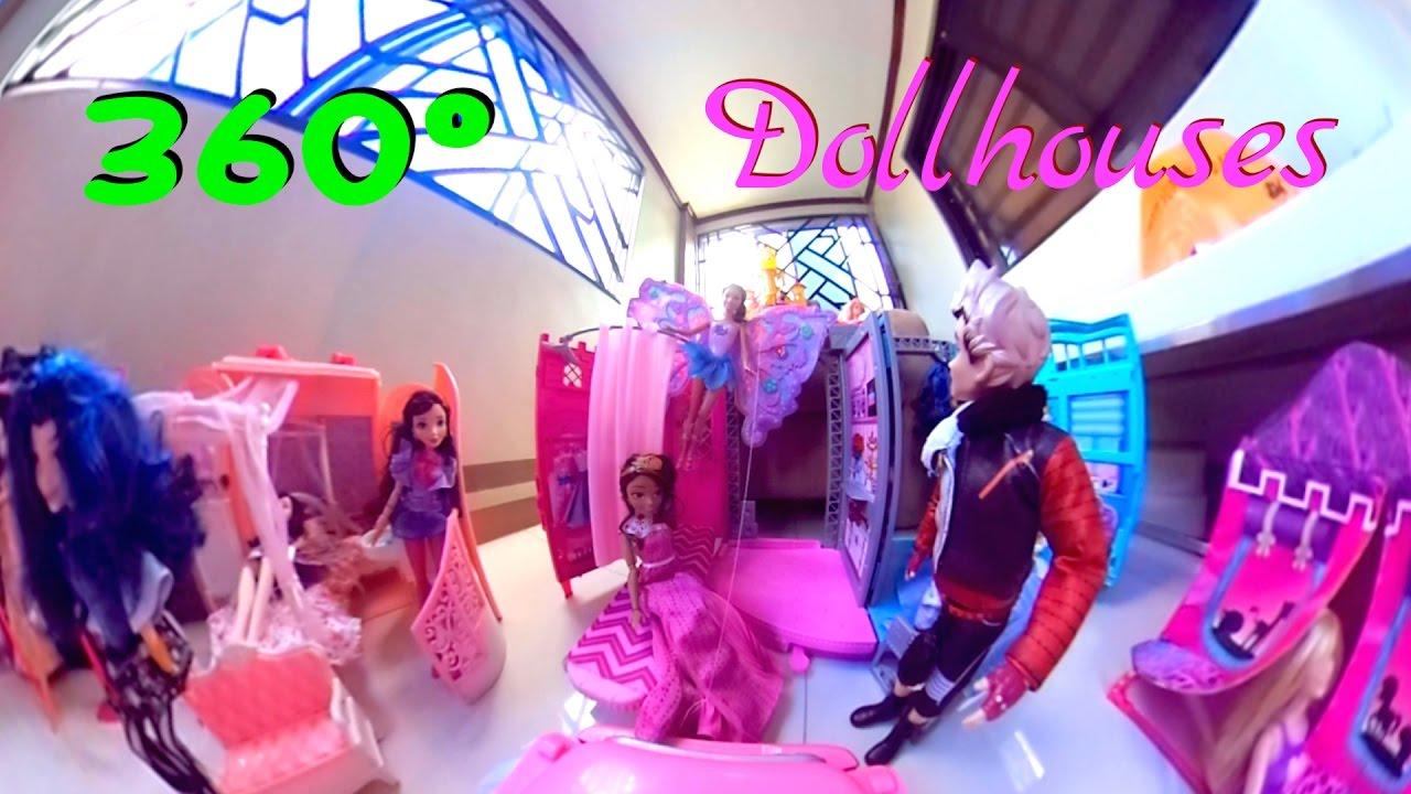 360 Video: BARBIE and KEN Dolls Beach Cruiser Vehicle Tour to Dollhouses
