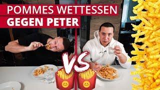 Pommes Wettessen gegen Peter!