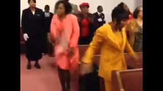 Church Lady Playing Tambourine