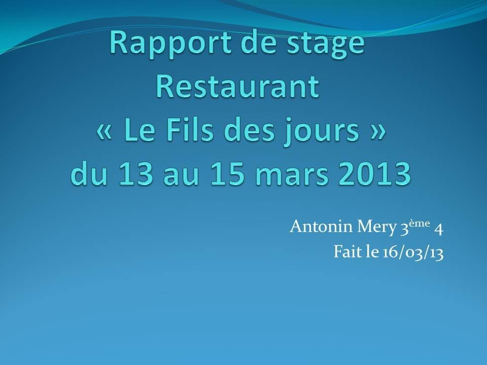 Rapport De Stage 3eme Youtube