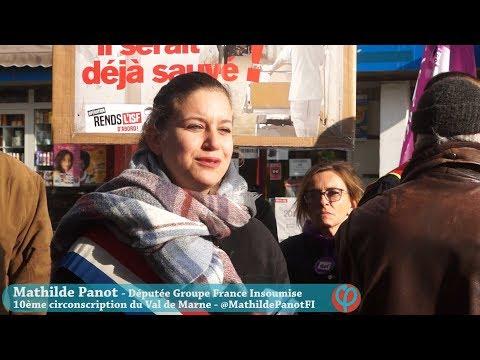 Mathilde Panot Manifestation Défense Hôpitaux 91 Juvisy sur Orge 17/11/2018 France Insoumise Essonne