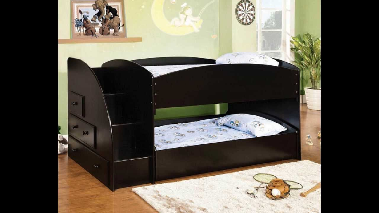 Merritt Black Finish Wood Twin Over Twin Short Style Bunk Bed With Pull