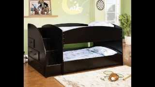 Merritt Black Finish Wood Twin Over Twin Short Style Bunk Bed With Pull Out