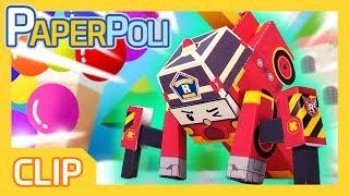 Transformer roy! Pull huge balloons!! | Paper POLI [PETOZ] | Robocar Poli Special