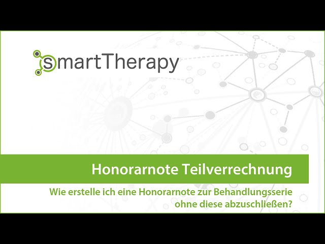 smartTherapy: Honorarnote Teilverrechnung