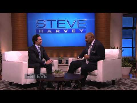 "Steve Harvey asks Joel Osteen ""Does God have a sense of humor?"""