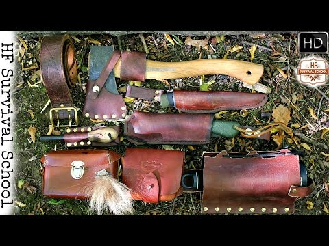 Bushcraft / Survival Tool Belt - One Stick Fire - Leathercraft , Knife , Axe and More ... - HD Video