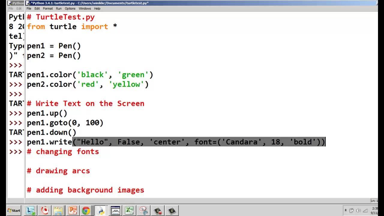 how to write python script