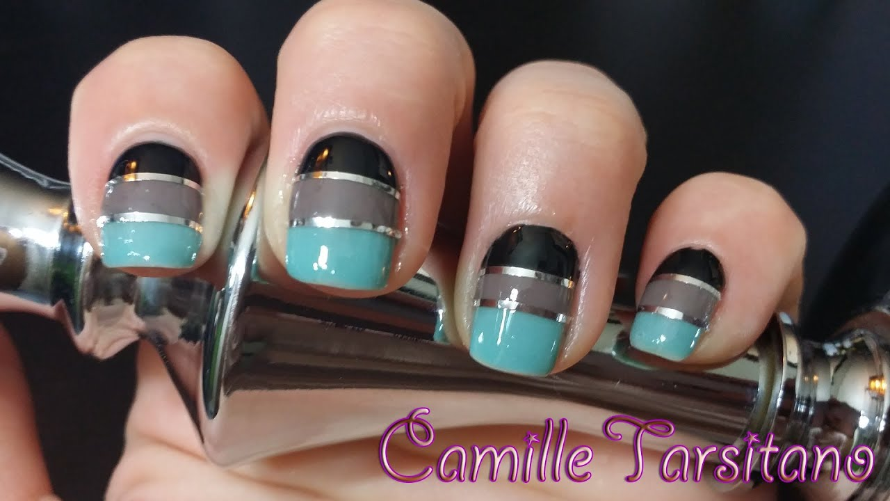 teal & black block nails with silver