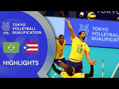 BRAZIL vs. PUERTO RICO - Highlights Men | Volleyball Olympic Qualification 2019