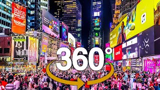4K 360° New York City: Evening Walk to Times Square - 42nd Street from Columbus Circle