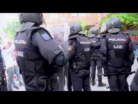 Spanish riot police vs hooligans and ultras