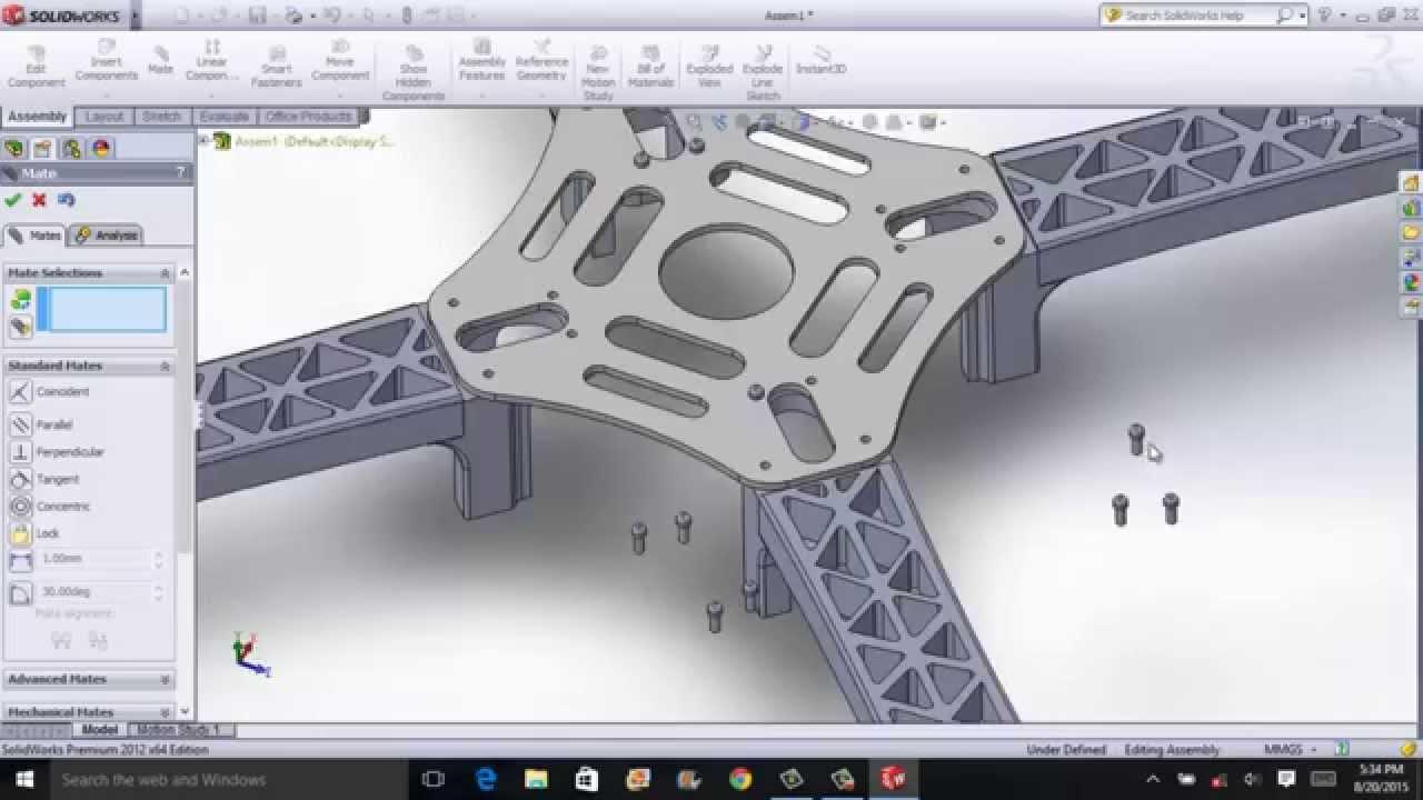 F450 Quadcopter Frame Assembly glass fibre Solidworks - YouTube