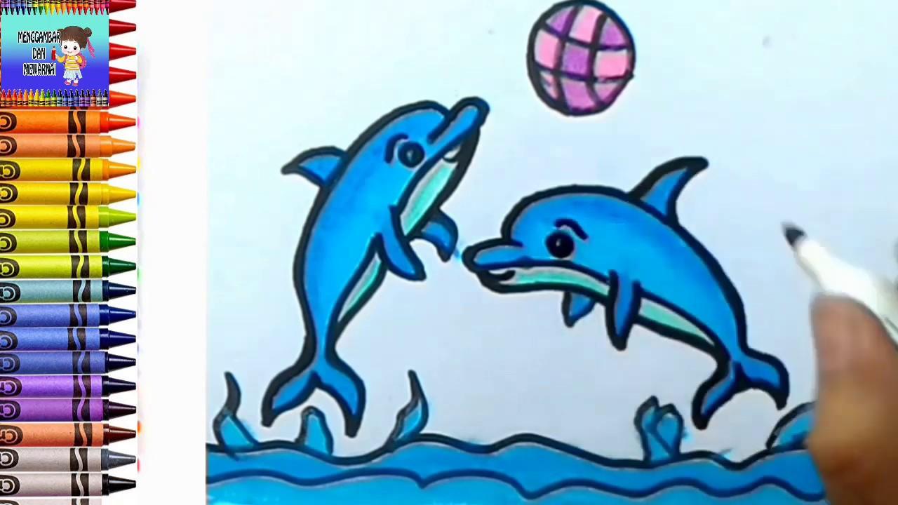 Menggambar Dan Mewarnai Dolphin Ikan Lumba Lumba Mewarnai Dengan Crayon
