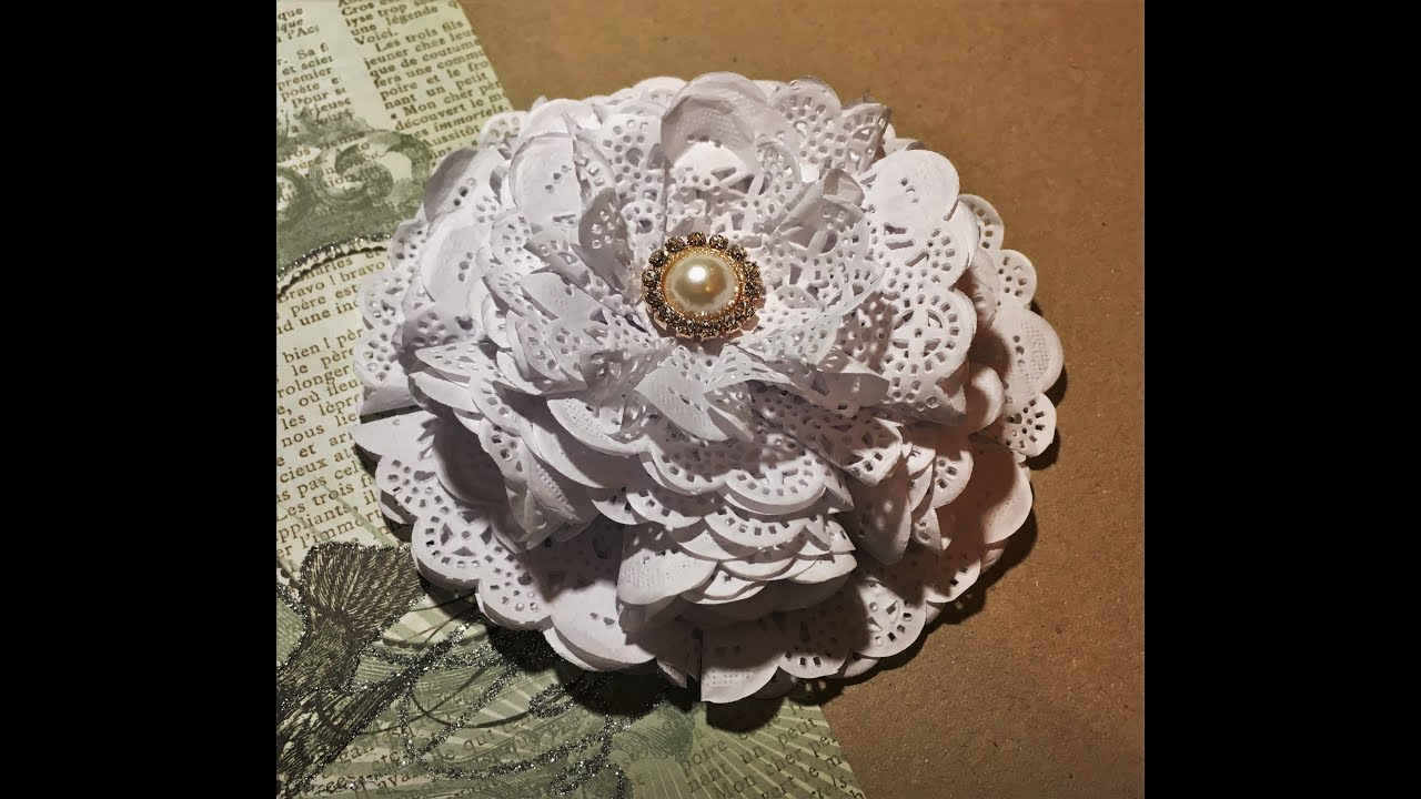 Diy how to make a paper doily flower youtube mightylinksfo