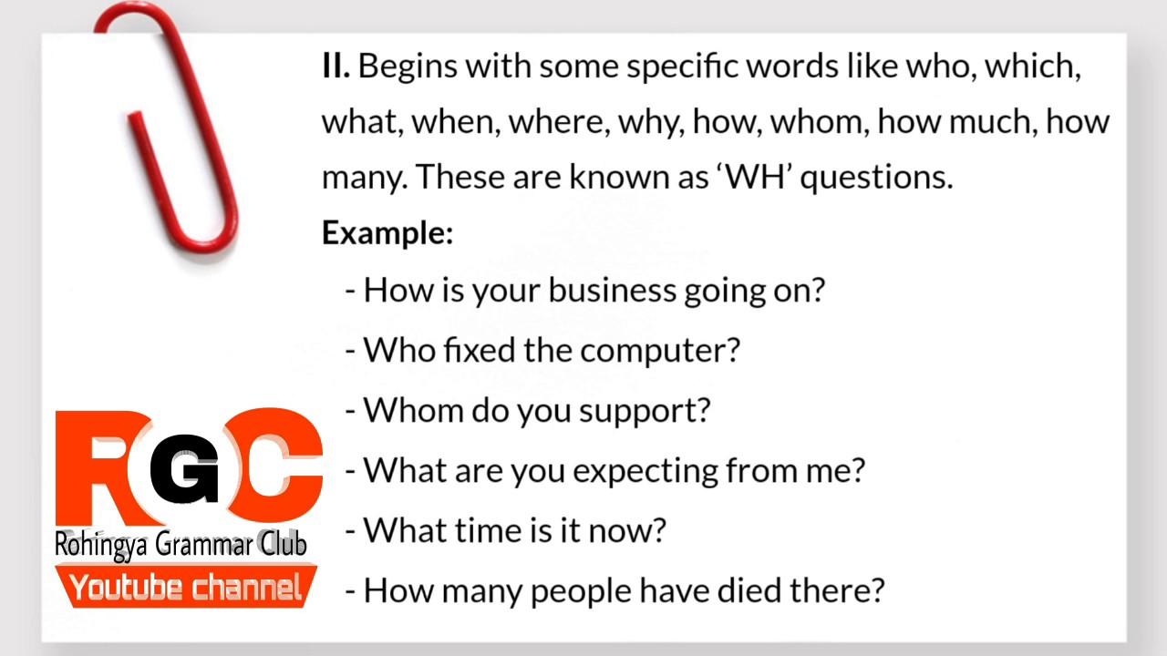 Lesson6 Interrogative Sentences Explained By Rohingya Grammar Club