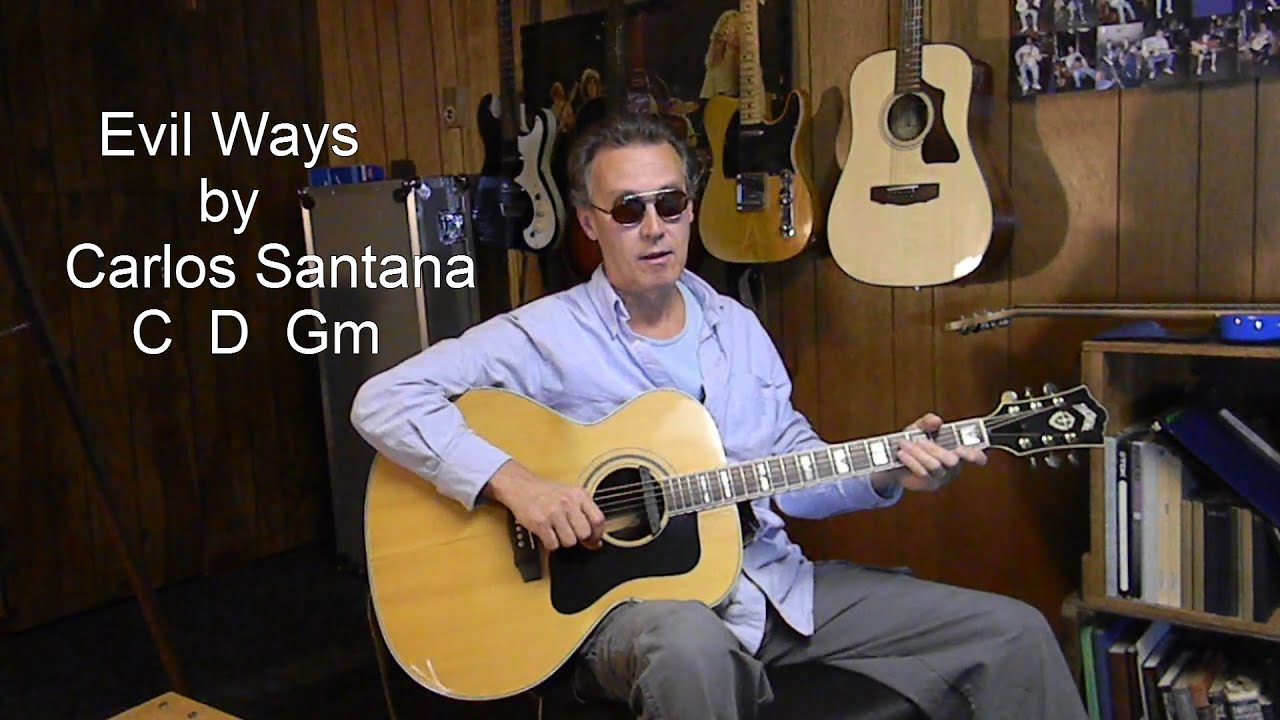 How To Play Carlos Santana Evil Ways Acoustic Guitar Lesson Youtube