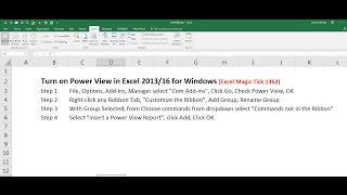 Turn on Power View in Excel 2013 / 2016 for Windows (Excel Magic Trick 1362)