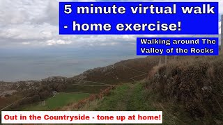 Easy home exercise virtual walk - 5 minutes around the Valley of the Rocks in Devon