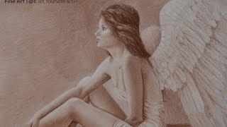 How to Draw a Realistic Angel With Pastel - Sepia - 세피아톤으로 사실감있는 천사 그리기