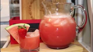 COMO HACER AGUA FRESCA DE SANDIA Y FRESA   MEXICAN DRINK RECIPE