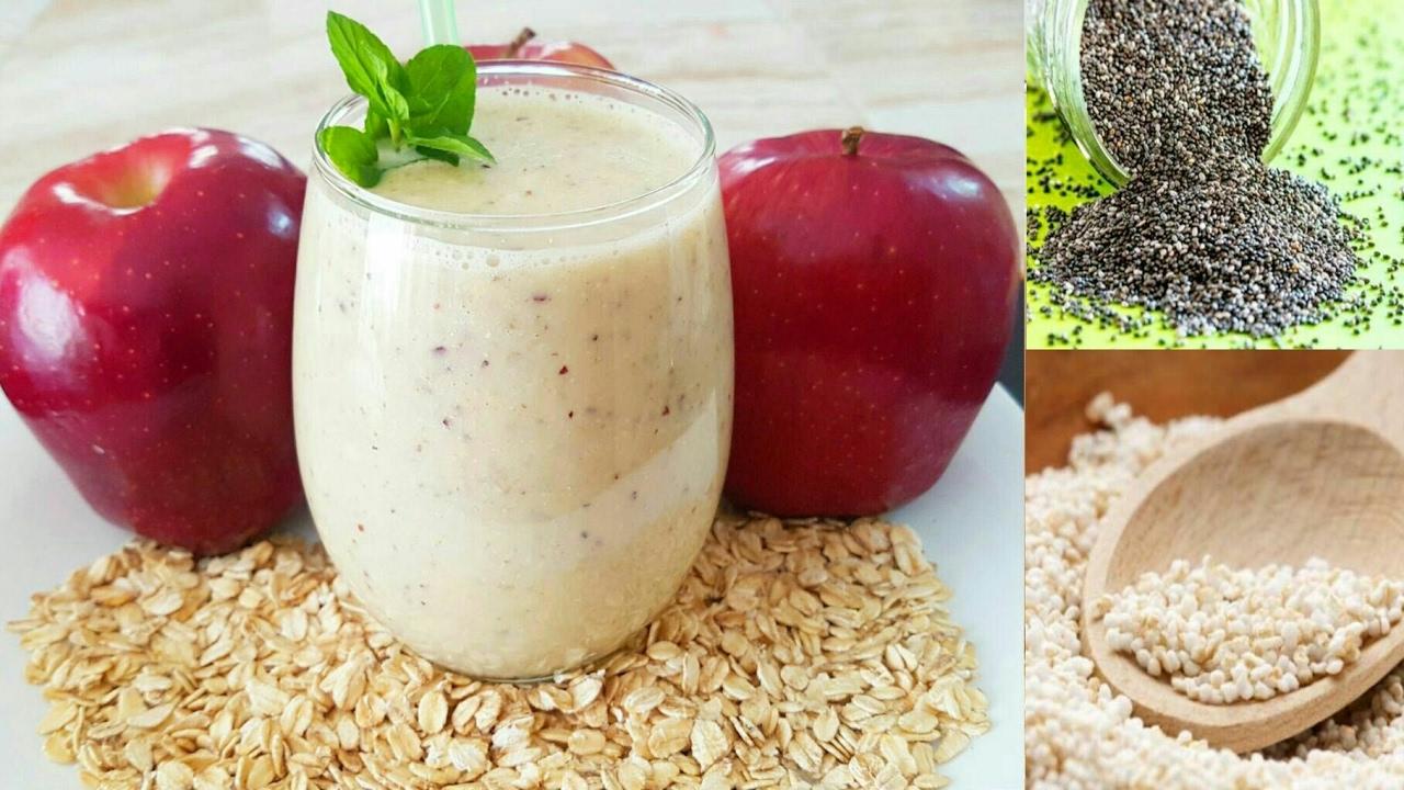 licuado de avena con manzana y agua para bajar de peso