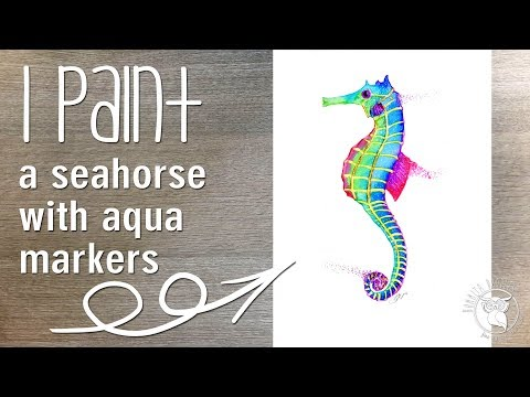 Spectrum Aqua makers watercolour, watercolor sea horse