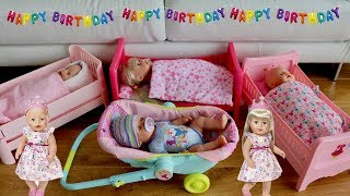 Baby Born Dolls Bed &  Comfort Seat Unboxing Set Up and 4 Baby Born Baby Dolls Birthday Party