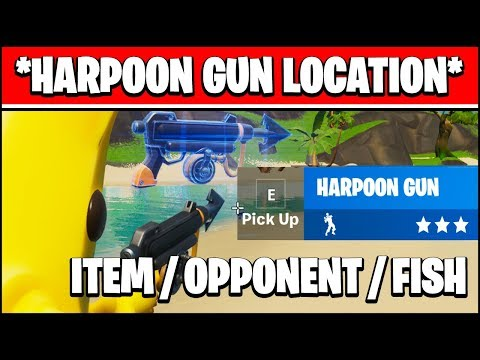 PULL AN ITEM, PULL AN OPPONENT, AND CATCH A FISH USING A HARPOON GUN LOCATION (Fortnite)