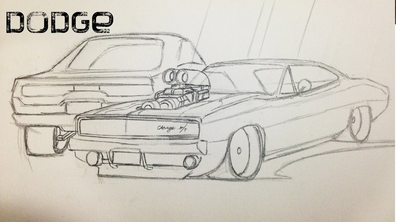 Como Dibujar Un Auto Speed Drawing Dodge Charger 1 Youtube
