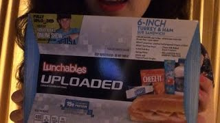 ASMR Eating Lunchables hot dogs and Sandwhich with Smores Part 3!
