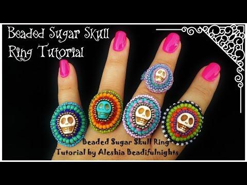 Beaded Sugar Skull Ring Tutorial