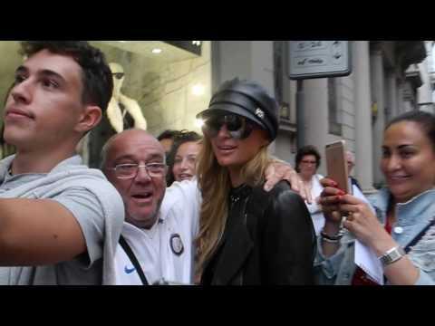 Paris Hilton shopping in Philipp Plein store during Milano fashion week