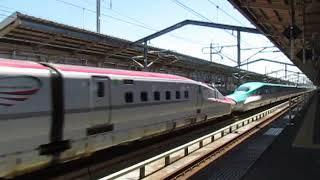 東北新幹線E6系+E5系はやぶさ13号仙台行福島駅高速通過!