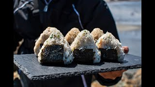 Catching Fish Under HUGE BOULDERS! Catch and Cook ONIGIRI!