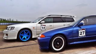 Nissan Stagea R34 vs Skyline GTR Turbo Sound