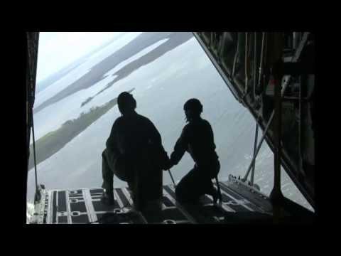 U.S. Coast Guard Airdrops Rescue Equipment from C-130 Hercules!